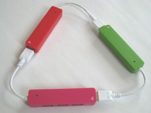 _201305_iBUFFALO USB2.0Hub バスパワー 4ポート ピンクレッドグリーン_8190